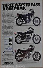 1980 YAMAHA MOTORCYCLES advertisement, Yamaha SR500, XS400, XS650 bikes