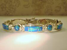 "GORGEOUS Ladies Blue Fire Opal Link Bracelet 8"" large Sterling SIlver 925"