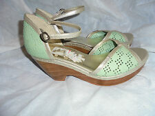 FIRETRAP WOMEN'S OLIVE GREEN LEATHER/OTHER STRAP SANDALS SIZE UK 6 EU 39 VGC