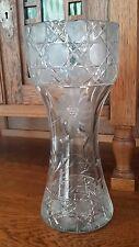 "Vintage Lead Crystal Cut Glass Floral Design Corset Vase, Hatch, Flowers 11-5/8"""