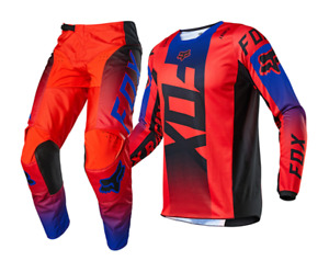 Brand New Fox Adult 180 Oktiv Red/Blue Motocross Kit Combo Size 32W Large Jersey
