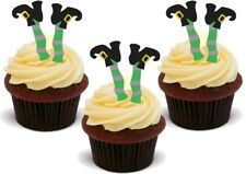 FUNNY HALLOWEEN WITCH LEGS - Standups 12 Edible Standup Premium Cake Toppers