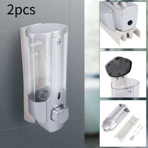 2x Wall Mounted Hands Sanitizer Shampoo Liquid Dispenser Dispenser Pump 350ml