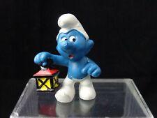 Smurfs 1977 Peyo Schleich PVC Toy Smurf Watchman with Lantern Vintage