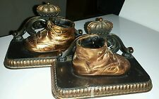 Vintage BRASS Cast Metal Bronzed BABY SHOE Bookends w/CROWN TOPS ~NICE Condition