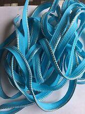 """1/8"""" Piping , Cord edge  ,Lipcord (Aqua Blue /silver Color) Trim BTY"""