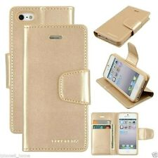 iPhone 5 5s SE 2016 Genuine MERCURY Goospery Sonata Diary Gold Flip Case Wallet