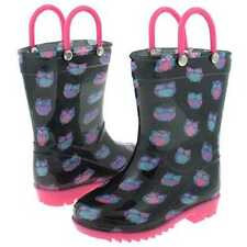 Rain Boots Black/Pink with Cute little Owls 100% Waterproof  Girls Size  6/7