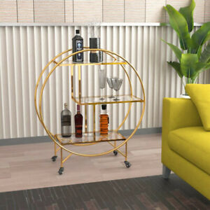 Gold Round Drink Cabinet Glass Bar Movable 3Tier Deck Cocktail Wine Bottle Stand