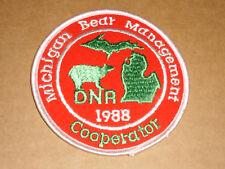 1988 DNR MICHIGAN BEAR MANAGEMENT COOPERATOR PATCH ORIGINAL