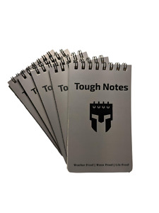 Tough Notes Waterproof Notebook Top-Spiral, 3'' x 5''(back pocket size), 5-pack