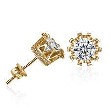 Men Women's Gold Plated Cubic Zirconia Crystal Stud Earrings 6mm