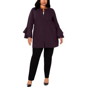 Alfani Plus Size Flared-Sleeve Collarless Jacket in Dark Fig, Size 3X, $119.50