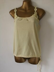 Top yellow 12 stretch crotchet straps Spring Summer holiday party Cami top