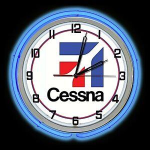 "19"" Cessna Aircraft Logo Sign Blue Double Neon Clock Airplane Hanger Man Cave"