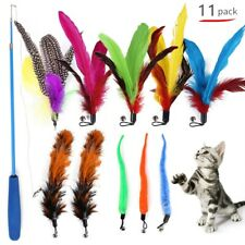 11 Pcs Replacement Feather Teaser Cat Toy Long Wand Fun Exerciser Playing Toys
