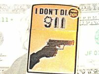 New Zippo USA Lighter I Don't Dial 911 9 mm Semi Auto Colt 45 Revolver NRA Flame