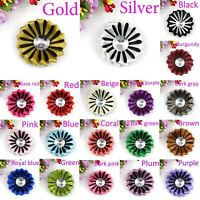 "5-100Pcs 2""Satin Ribbon Flowers Bows with Appliques Sewing DIY Craft Wedding"