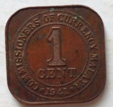 Commissioners of Currency Malaya 1941i 1 cent coin