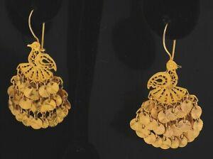 14K yellow gold filigree floral drop dangle peacock bird earrings