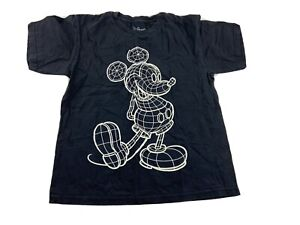 Disney T-Shirt Size Youth M Medium Black Mickey Mouse Crew Neck Glow In The Dark