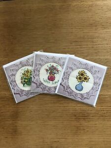 Hand Made Greetings Cards - Set of 3. Cross stitch with a floral theme.