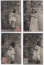 Lot 4 CARTES PHOTOS Série 157 Cueillette Fruit Petite fille Studio Vers 1910