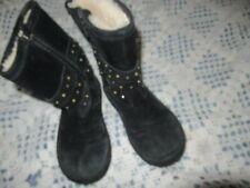 vguc Ugg black suede studded boots big girls 1 free shipping USA