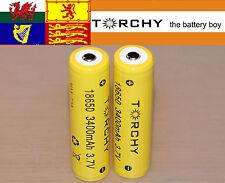 2x Torchy (Panasonic Inside) 3400mAh Protected 18650 3.7v Li-ion batteries