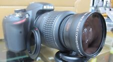 Wide Angle Macro Lens for Nikon d3300 d5500 d3200 d5100 d5000 d50 w/18-55 Cap Ke