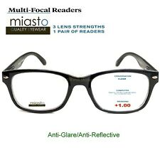 (2 PAIRS) MIASTO MULTI-FOCAL COMPUTER READER READING GLASSES +1.00 NO LINE BLACK