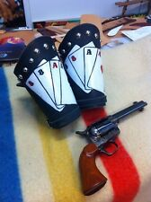 COWBOY CUFFS HAND TOOLED HAND PAINTED ACES AND EIGHTS COWBOY ACTION