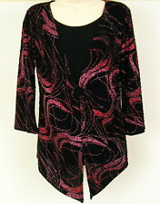 Womens Top Black/ Red Sparkle Sz Small Layered Look Christmas Holiday Made USA