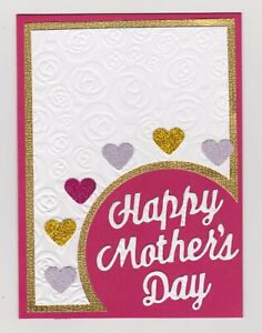 Blank Handmade Greeting Card ~ HAPPY MOTHER'S DAY with HEARTS ON EMBOSSED ROSES