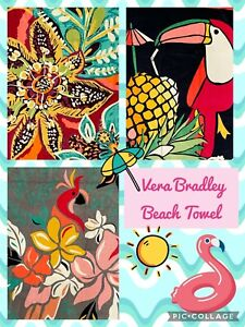 """NWT Vera Bradley Cotton Beach Towel 33""""w x 66""""h 3 Patterns Available MSRP $45"""