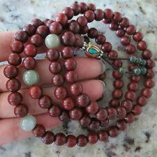 8mm*108 Buddha Lobular Red Sandalwood Prayer Beads Prayer Mala Light Jade Beads