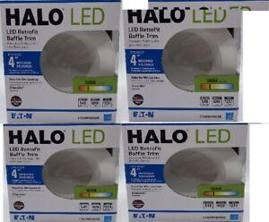 "(LOT of 4) Halo LED 4"" Retrofit Baffle Trim 3000K Dimmable Recessed Lighting"