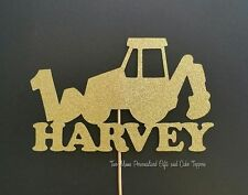 Backhoe Cake Topper - Front End Loader, Digger, Tractor, Construction Glitter