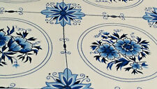 Delft Blue Floral Wall Tile Design Cotton Handkerchief Holland Souvenir 1970