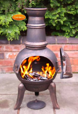 90cm Cast Iron Chiminea Outdoor Garden Fire Heater BBQ Log Wood Burner Chimnea