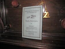 1920s Super Zenith Radio Manual - Installation & Operation - Reproduction