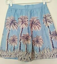 J Crew Womens Light Blue Palm Tree Linen Back Zipper Lined Skirt Size 00