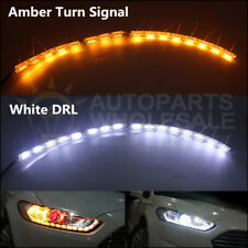 2pcs Switchback LED Strip Light Sequential For White DRL Amber Turn Signal Light