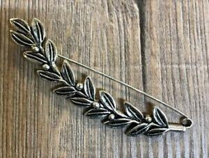 Brosche - Kiltnadel Blätter - silber