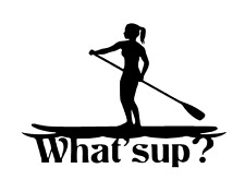 "FEMALE STAND UP PADDLE BOARD (SUP) Sticker/Decal watersports/Kayak/ 8.5"" x 6"""
