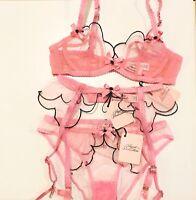 Agent Provocateur Lorna Pink Black Bra 32B & Suspender Belt & Brief & Thong AP 2