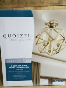 Quoizel Liberty Park 13.125-in Gold Casual/Transitional Semi-flush Mount Light