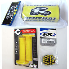 "Renthal Yellow 1-1/8"" Fat Bar Pad Donuts ODI Ruffian MX Grips Set RM RMZ DRZ NEW"
