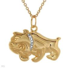 Bulldog Men's Necklace With CZ in 14K/925 Gold plated Silver 20""