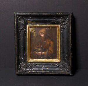 Rare Late 17th Century Miniature Painting of Saint Francis Ebonized Frame